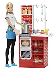 With the Barbie Spaghetti Chef play set, you can cook up a pasta feast! Young chefs can explore restaurant ownership and culinary careers with Barbie doll while cooking up a spaghetti and meatball dinner using pasta and meatball dough! Two do...