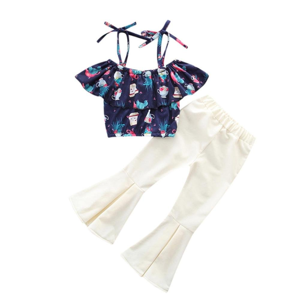 CSSD Children Kids Casual Outfits Clothes, Bonsai Print Off Shoulder Tops+Wave Pants (5T, Navy)