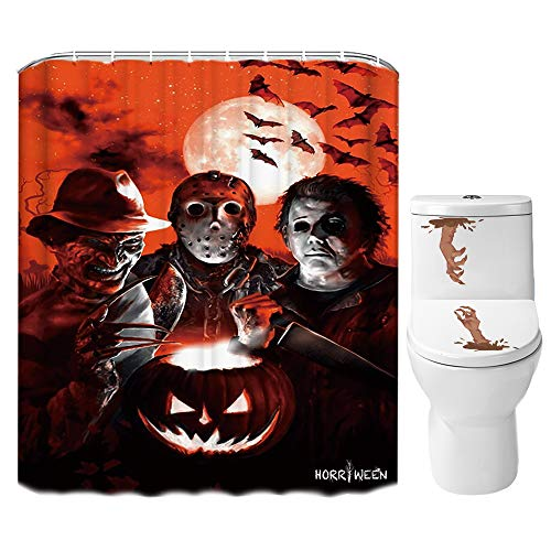 Best Non Horror Movies For Halloween (Halloween Shower Curtain Set for Bathroom- Scary Killer Freddy Jason Michael, Horror Movie Themed Holiday Polyester Fabric Decoration with Hooks and Toilet Sticker, Halloween Decor)