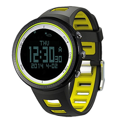 Lixada 5ATM Waterproof Pedometer Stopwatch Altimeter Barometer Thermometer Compass Timer LCD Display EL Backlight Outdoor Sports Watch Multifunction