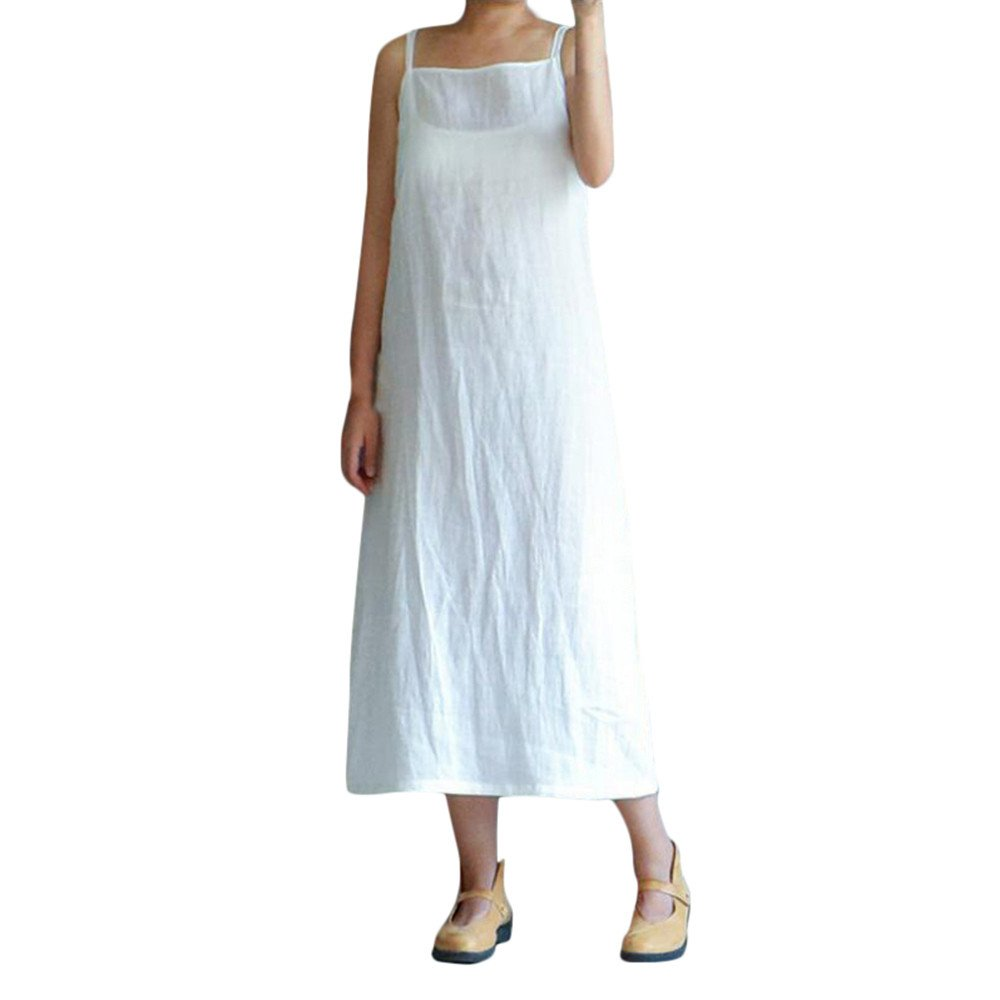 wodceeke Women's Loose Plus Size Cotton Casual Embroidery Dresses Solid Sleeveless Long Dress(White,L)