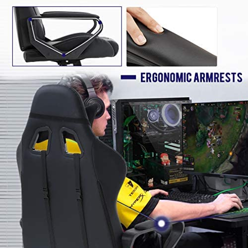 Ergonomic Office Chair PC Gaming Chair Desk Chair PU Leather Racing Chair Executive Computer Chair Swivel Rolling Lumbar Support for Women&Men, White 51TNKnAYnUL