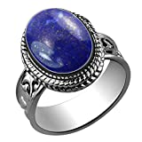 Sterling Silver Jewelry 5.60ctw,Genuine Lapis 10x14mm Oval & .925 Silver Overlay Handmade Rings