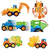 Set of 4 Cartoon Friction Powered Push & Play Vehicles for Toddlers - Dump Truck Cement Mixer Bulldozer Tractor