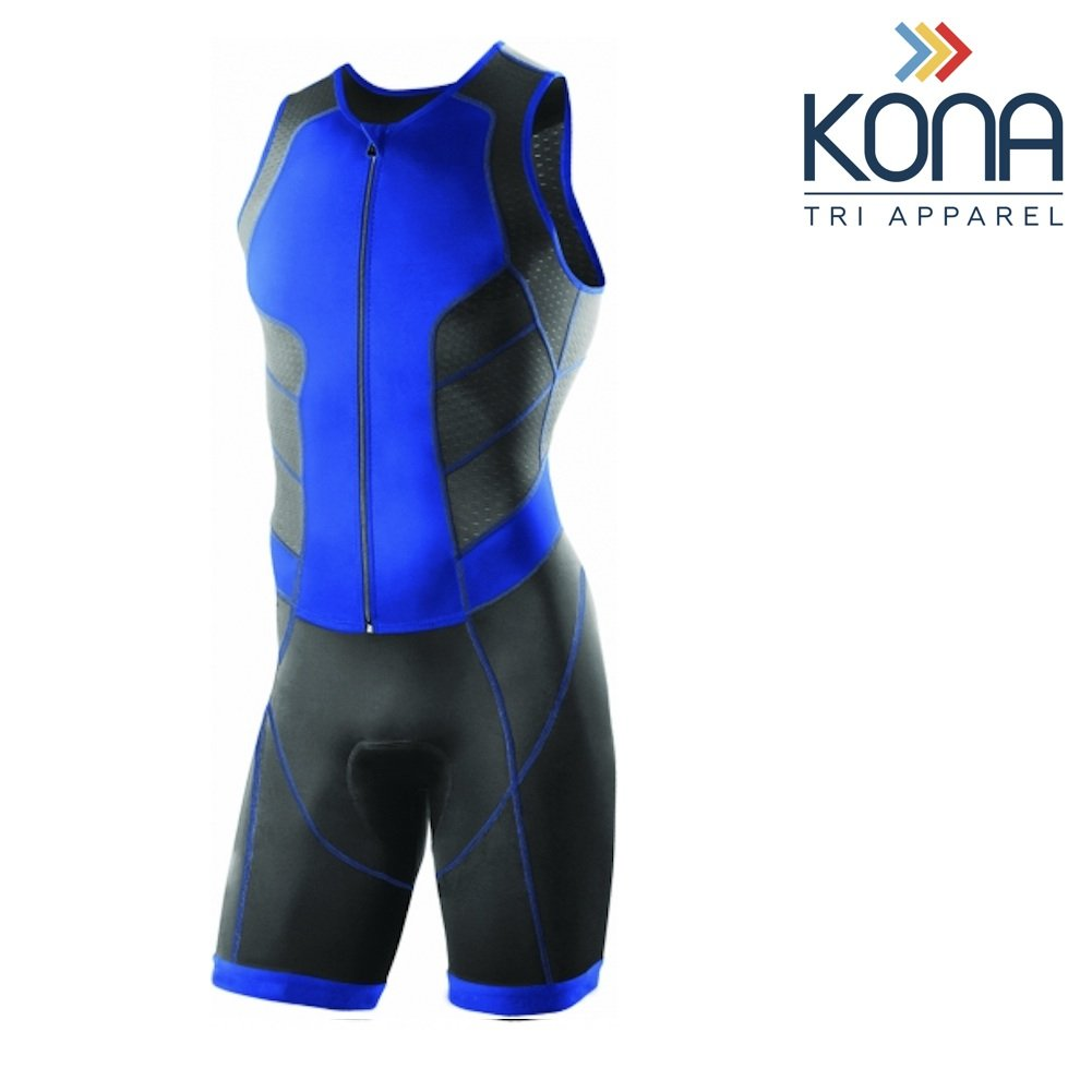 Kona Men's Triathlon Race Suit - Wetsuit Skinsuit Trisuit Sleeveless - One-Piece Vest and Short Combo That Half zips with a Rear Pocket for Storage (Blue, Small)