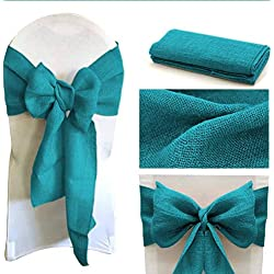 mds Pack of 25 Natural Burlap Chair Bow Sashes Natural Jute Country Vintage for Wedding and Events Supplies Party Decoration- Teal