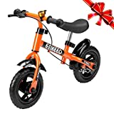 """Toys : Enkeeo 10"""" Balance Bike No Pedal Cycling Walking Bicycle with Bell and Hand Brake for Ages 2 to 5 Years Old, Adjustable Handlebar and Seat, 110lbs Capacity, Orange"""