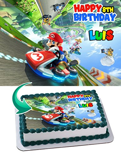 Mario Kart 8 Deluxe Edible Cake Image Personalized Icing Sugar Paper A4 Sheet Edible Frosting Photo Cake 1/4 ~ Best Quality Edible Image for cake by EdibleInkArt
