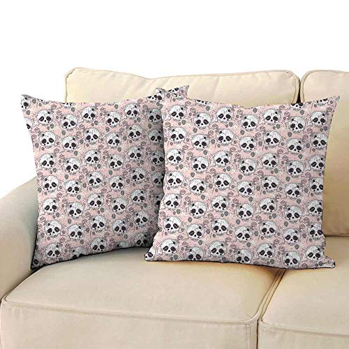 Polyester Pillowcase Skull Halloween Traditional Mexican Sugar Day of The Dead Roses Horror Folk Pattern Antifouling W 20