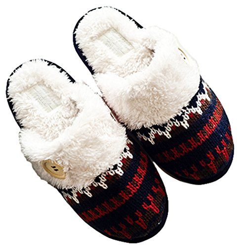 Stitch Blue Scottish Navy Women's Cozy Foam House Memory Warm Slippers 4q6x7