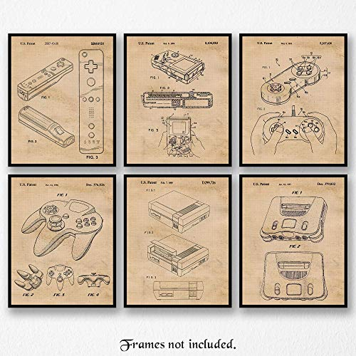 Vintage Nintendo Patent Poster Prints, Set of 6 (8×10) Unframed Photos, Wall Art Decor Gifts Under 25 for Home, Office, Garage, Man Cave, Shop, College Student, Teacher, Comic-Con & Movies Fan