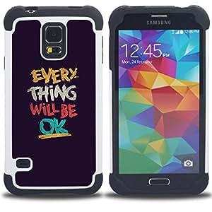 "Hypernova Híbrido Heavy Duty armadura cubierta silicona prueba golpes Funda caso resistente Para SAMSUNG Galaxy S5 V / i9600 / SM-G900 [Cosa Será Texto Ok motivación""]"