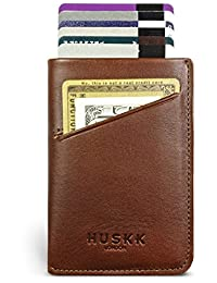 Slim Italian Leather Wallet for Men and Women, Up to 10 Cards Plus Cash by HUSKK - [CSC-DB] - Dark Brown