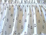 Cheap Valance White with Navy Anchors Nautical Curtain Window Treatment Topper Custom Made Lined