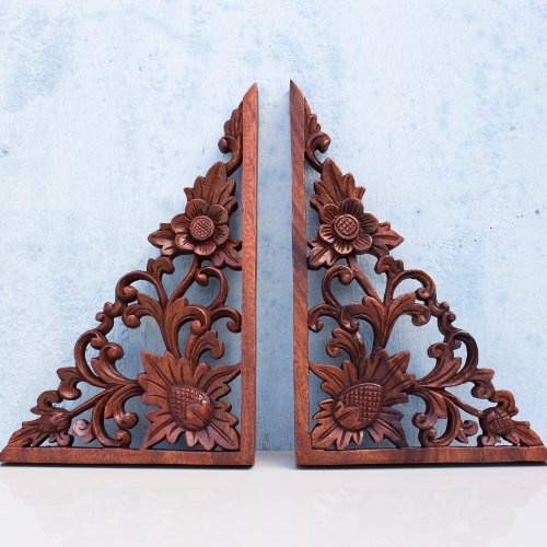 Balinese Architectural Corners Lotus Flower Wood Wall Panel Carving Art (Pair) Balinese Wood Carving Art
