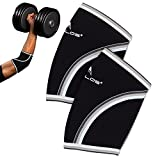Compression Elbow Sleeves(Pair), 5mm Neoprene,Perfect Support for Crossfit,Weightlifting,Powerlifting ,Tennis, Golf & Basketball (Large, Black)
