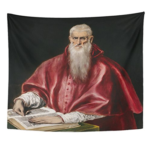 - TOMPOP Tapestry St Jerome As Scholar by El Greco 1610 Spanish Home Decor Wall Hanging for Living Room Bedroom Dorm 50x60 Inches
