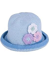 Three Flower Hand Crochet Cotton Bucket Hat Light Blue Medium
