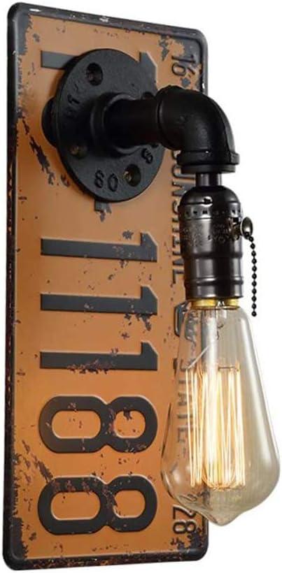Industria de la vendimia Lámpara de pared con interruptor de cremallera Lámpara de pasillo Metal Matrícula Retro Tubería de agua Luz de pared Lámpara de comedor para Cocina Bar Café Acera Base E27