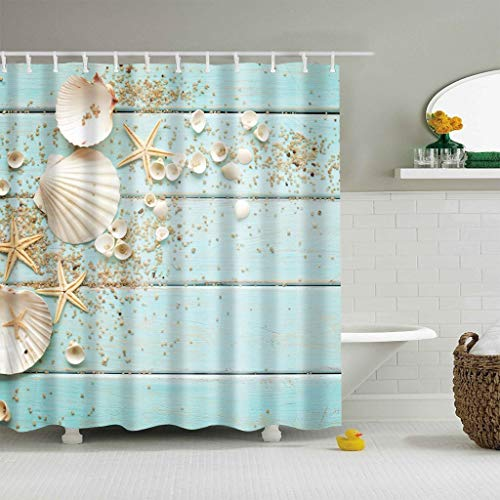BROSHAN Seashell Shower Curtain,Sea Shells Starfish Sand on Rustic Turquoise Wooden Board Ocean Beach Theme Art Print Bath Curtain,Waterproof Fabric Bathroom Decor Set with Hooks, 72x72 Inch ()