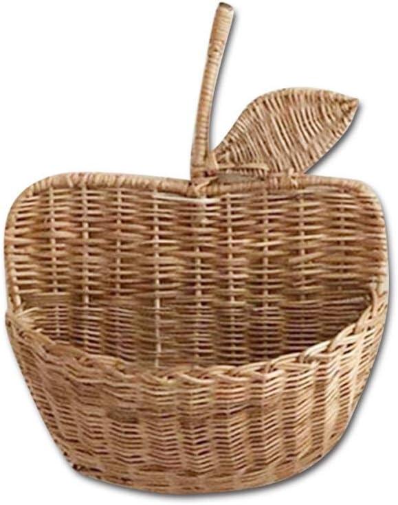 Rattan Storage Basket, Handmade Rattan Apple-Shaped Basket Natural Organizer Home Woven Organizer for Baby Room Nursery Decoration Wall Decor