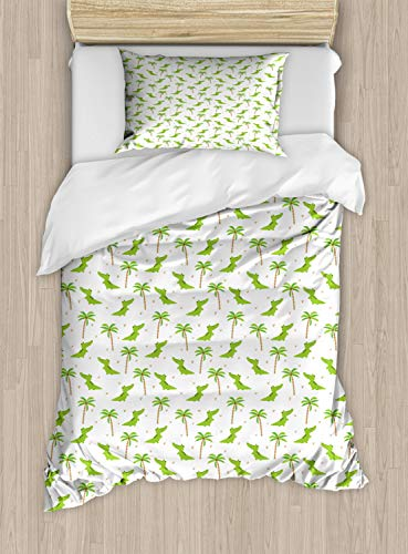 (Lunarable Alligator Duvet Cover Set Twin Size, Cartoon Crocodiles with Tropic Palm Trees Nursery Design Composition, Decorative 2 Piece Bedding Set with 1 Pillow Sham, Lime Green White Camel )