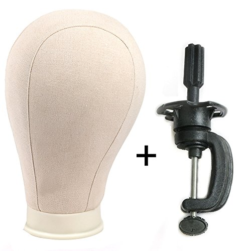 """Price comparison product image 24"""" Canvas Block Wig Head and Stand Mannequin Head Wig Display Styling Head With Mount Hole Off-White (24""""+clamp)"""