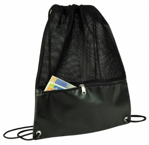 Legend Drawstring Mesh Backpack - Black {48 Pieces} , Material: Leatherette W/Foam Mesh Size: 17.5