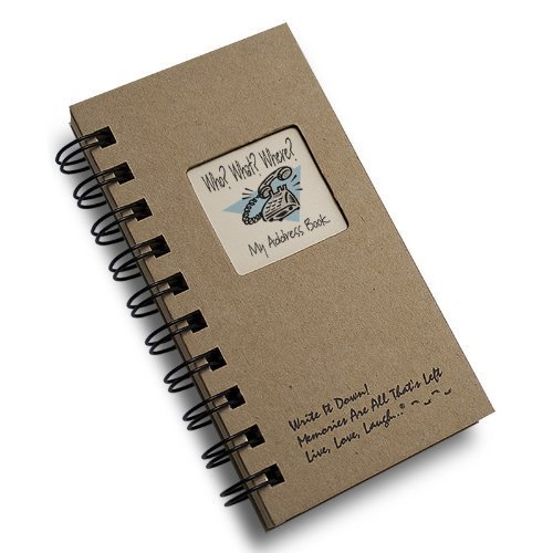 Who? What? Where? - My Address Book - MINI Kraft Hard Cover (prompts on every page, recycled paper, read more...)