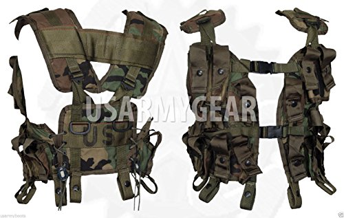 New Made in USA Army Military Woodland Camo Camouflage 40MM AMMO Tactical Grenade Carrier Flars LOAD BEARING Cargo VEST LBV 18 Bottomless Pockets Paintball Airsoft by US Government GI USGI