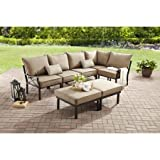 Stainless Steel Seven Piece Patio Sofa Set, Five Seats, Two Ottomans, Loveseat,Polyester Cushions Chairs, Lumbar Pillow, Ideal for Garden, Backyard,in Blue or Tan, BONUS E-book (Tan)