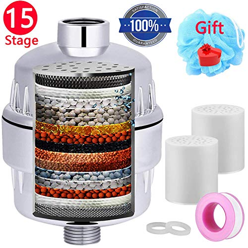 Shower Filter ,2 Pack 15-Stages Replaceable Cartridge,Shower Head Filter to Remove Chlorine,Impurities and Heavy Metals-Dramatically Improves The Condition of Your Skin, Hair and Nails