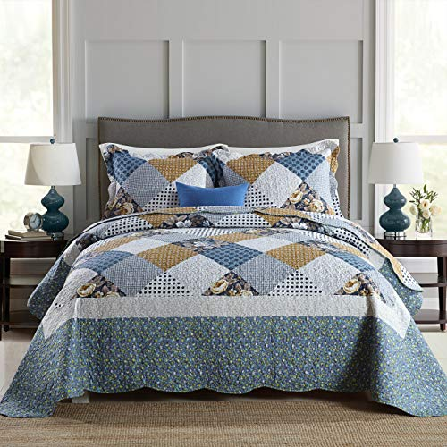 Travan 3-Piece Queen Quilt Sets with Shams Oversized Bedding Bedspread Coverlet Set (Sets Quilted Bedspread)