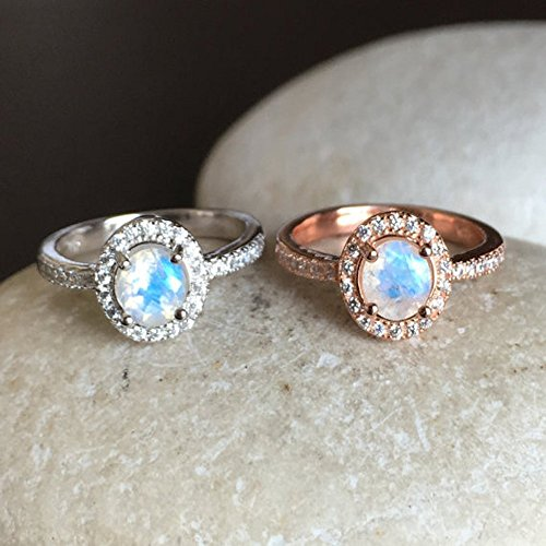 Rainbow Moonstone Engagement Ring- Moonstone Promise Ring- Rose Gold Moonstone Ring- June Birthstone Ring- Classic Anniversary Ring