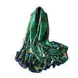 lightclub Fashion Peacock Feather Scarves Women Silk Cover Up Scarf Beach Travel Shawl Green