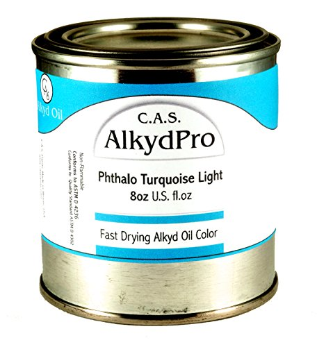 Liquin Light Gel (C.A.S. Paints AlkydPro Fast-Drying Oil Color Paint Can, 8-Ounce, Phthalo Turquoise Light)