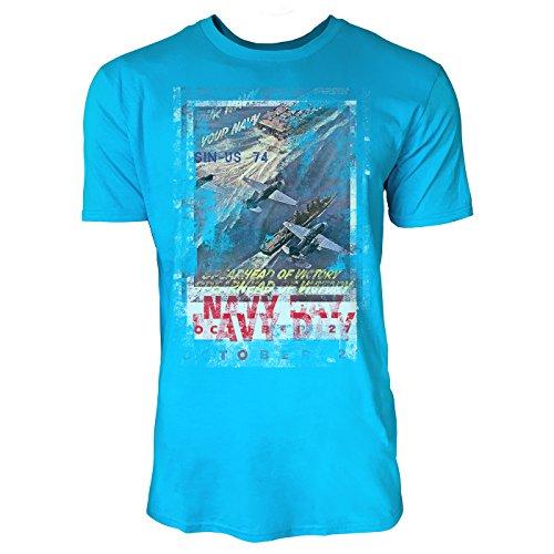 SINUS ART® Navy Day Herren T-Shirts in Karibik blau Cooles Fun Shirt mit tollen Aufdruck