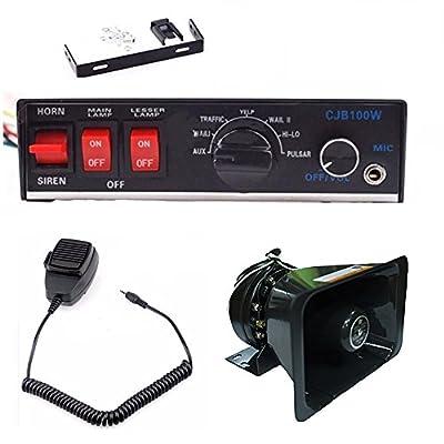 100W 12V 8Sound Loud Speaker PA Horn Siren System Mic Kit Police Car Fire Truck