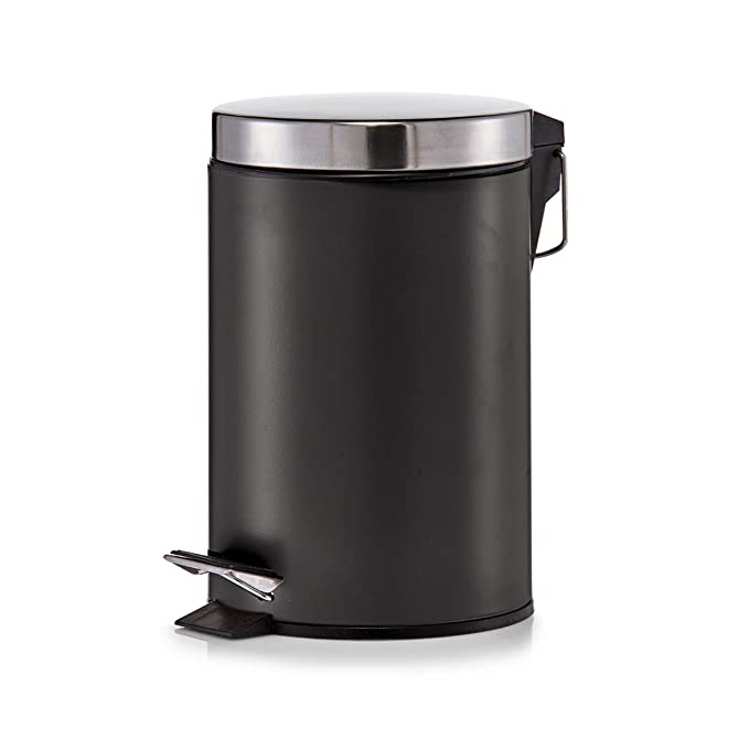 Zeller 18212 - Cubo de basura con pedal, ø17 cm, altura 26 cm, 3 litros, color negro mate: Amazon.es: Hogar