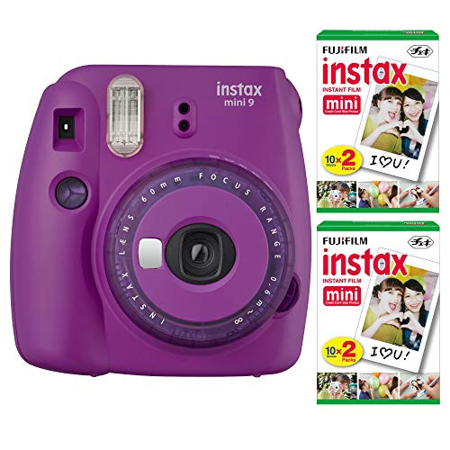 Fujifilm Instax Mini 9 Instant Camera (Purple) with 2 x Instant Twin Film Pack (40 Exposures) Bundle