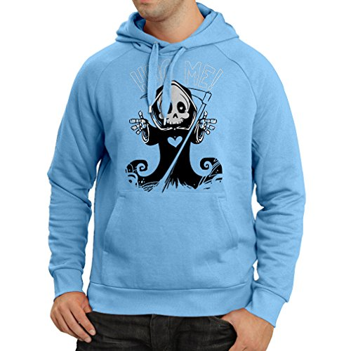 Hoodie The Death is coming! Halloween Skeleton clothes, evil Skull sickle (Medium Blue Multi Color)