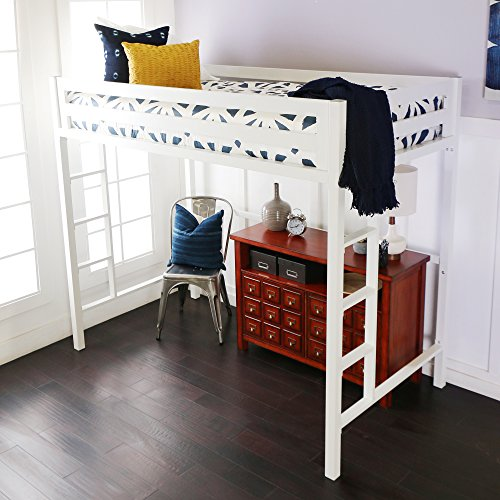 WE Furniture Premium Twin Metal Loft Bed, White