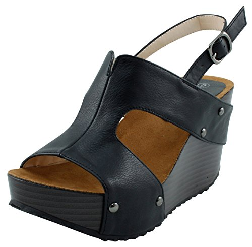 Cambridge Select Women's Open Toe Side Cutout Slingback Studded Platform Wedge Sandal (10 B(M) US, Black) (Slingback Wedge Platform)