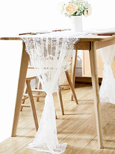 Boxan 30 X 120 Vintage Wedding White Lace Table Runner Rose Floral Lace Table Overlay Table Cover Rustic Wedding Reception Table Decorations