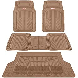 Motor Trend Premium FlexTough All-Protection Cargo Liner - DeepDish Front & Rear Mats Combo Set - w/ Traction Grips, Beige