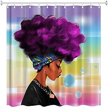 Women Black Shower Curtain,ZBLX African Women With Purple Hair Hairstyle   Waterproof Mildew Resistant