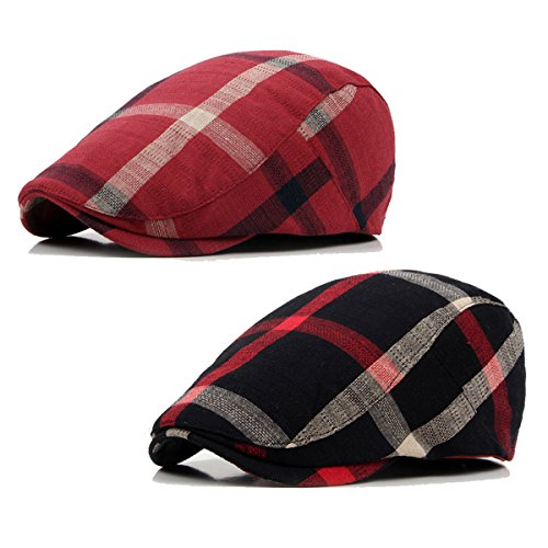 2 Pack ZLSLZ Men's Plaid Cotton Flat Newsboy Ivy Cabbie Golf Gatsby Cap Hat Red (Plaid Vintage Hat)