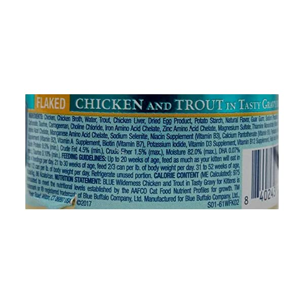 Blue Buffalo Wilderness Grain Free Canned Kitten Food Entree 3 Flavor Variety 6 Can with 2 Toys Sampler Bundle, 2 Each: Salmon, Chicken Trout, Chicken (3 Ounces)