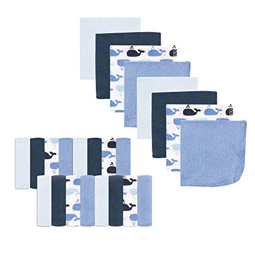Luvable Friends 24-Piece Washcloths, Whale, 24 Count