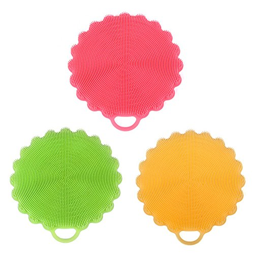Silicone Sponge Dishwashing Brush Dish Sponge Bowl Pot Wash Scrubber Non Stick Antibacterial Kitchen Cleaning Tools,Cup Coasters,Hot Pads Pack of 3